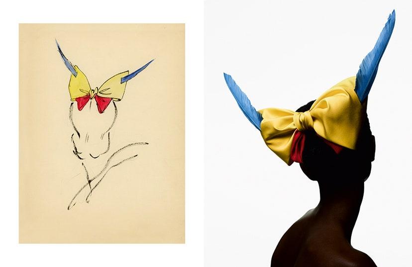 Акварельный эскиз шляпы Кристиана Диора