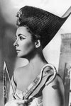 Image may contain: Human, Person, Face, Hat, Clothing, Apparel, Head, and Female, Elizabeth Taylor, Cleopatra, cat eye, makeup, make up guide