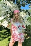 девушка человек платье сумка сад цветение