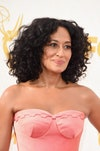 Image may contain: Tracee Ellis Ross, Clothing, Apparel, Hair, Human, Person, Evening Dress, Fashion, Gown, and Robe